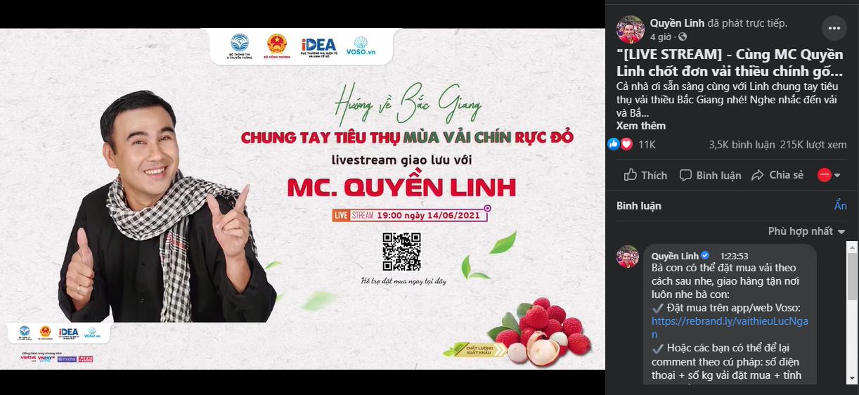 """Livestream """"Hướng về Bắc Giang - Chung tay tiêu thụ mùa vải chín rực đỏ"""" cùng Nghệ sỹ Quyền Linh"""